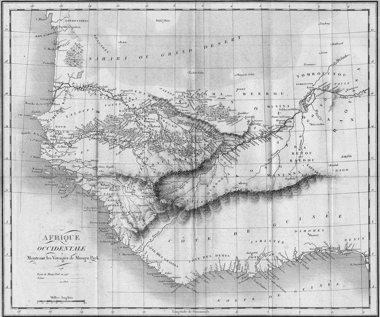 Afrique Occidentale Montrant les Voyages de Mungo Park.