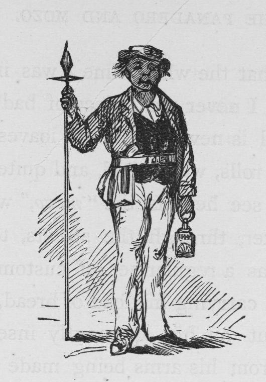 [Man standing with a lantern in one hand and a spear in the other.]