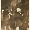 [Huguenot Park, Two young readers at shelves.]