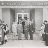 Library for the Blind, Dedication, Ribbon Cutting: (front row left-right) Raymond A. Harris, Librarian; Ralp A. Beals, Director, The New York Public Library; Honorable Frederick H. Zurmuhlen, Commissioner of Public Works; Mr. Morris Hadley, President, the New York Public Library. (rear row, at left) Peter B. Putnam, Author and Assistant Instructor, princeton University; (2nd from right) Mr. John M. Cory, Chief, Circulation Department, the New York Public Library