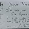 "[Pelham Bay, ""Yankee Fans! Come and see Jim Spencer at Pelham Bay Library, Wednesday, September 5, 1979. Admission free! All invited!"".]"