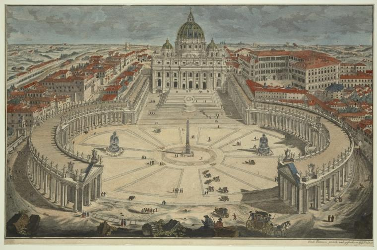 Fascinating Historical Picture of Basilica di San Pietro in Vaticano with St. Peters Basilica in 1750