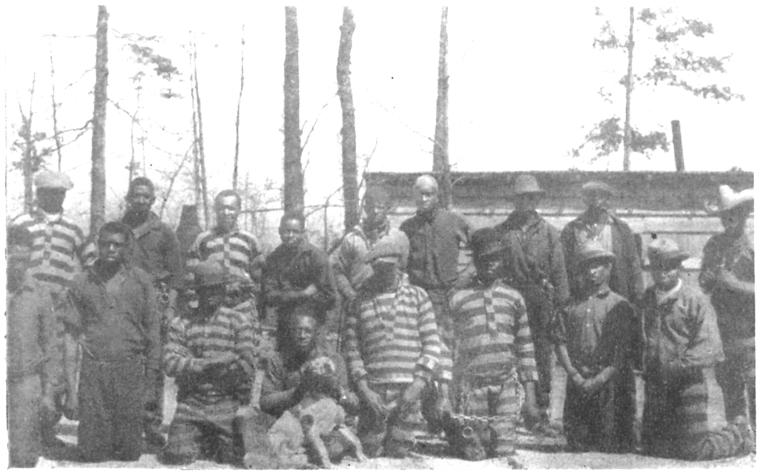 A group of negro prisoners showing stripes and chains.
