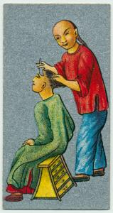 Ancient Chinese. [Shaving all but a circular portion of hair  distinguishes the Chinese common people and manadarins from Tauist and Buddhist priests.(description of card No. 15)].
