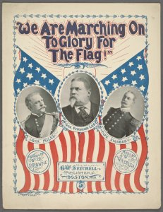 We are marching on to glory for the flag / words by William Maynadier Browne ; music by J. W. Wheeler.