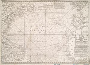 A new chart of the vast Atlantic Ocean : exhibiting the seat of war, both in Europe and America, likewise the trade winds & course of sailing from one continent to the other, with the banks, shoals and rocks drawn according to the latest discoveries, and regulated by astronomical observations / Emanl. Bowen, sculp.