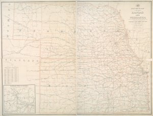 Post route map of the states of Kansas and Nebraska : showing post offices with the intermediate distances and mail routes in operation on the 1st of December, 1900 / published by order of Postmaster General Charles Emory Smith under the direction of A. von Haake, topographer, P.O. Dept.