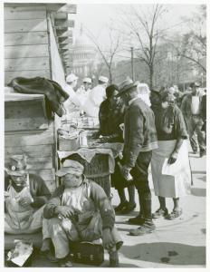 Hot lunches are served on the job by colored vendors; Soups, beans, and coffee were their menu, with occasional corn bread and succotash; Emergency office space construction; Washington, D.C.; Dec., 1941.