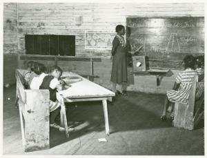 Interior of school on Mileston Plantation; School begins very late in the year and attendance is poor until December because the children pick cotton, Mileston, Mississippi Delta, Mississippi, November, 1939.