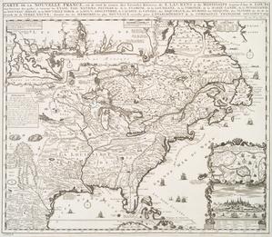 Carte de la Nouvelle France : où se voit le cours des Grandes Rivieres de S. Laurens & de Mississipi, aujour d'hui S. Louïs, aux environs des-quelles se trouvent les etats, païs, nations, peuples &c. de la Floride, de la Louïsiane, de la Virginie, de la Marie-lande, de la Pensilvanie, du Nouveau Jersay, de la Nouvelle Yorck, de la Nouv. Angleterre, de l'Acadie, du Canada, des Esquimaux, des Hurons, des Iroquois, des Ilinois &c., et de la Grande Ile de Terre Neuve / dressée sur les memoires les plus nouveaux recueillis pour l'établissement de la Compagnie françoise occident.