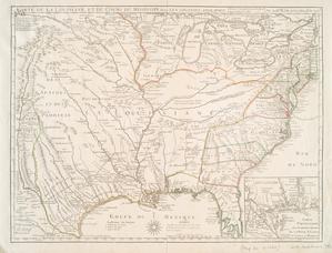 Carte de la Louisiane et du cours du Mississipi avec les colonies anglaises / par Guillaume De l'isle de l'Académie Rle. des Sciences.