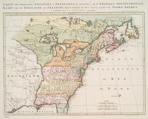 Carte des possessions angloises & françoises du continent de l'Amerique septentrionale. = Kaart van de Engelsche en Fransche bezittingen in het vaste land van Noord America, 1755.