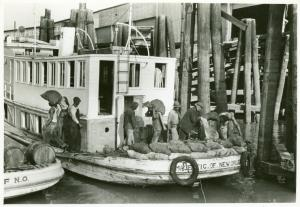Unloading oysters from packet boat arriving at New Orleans, La.