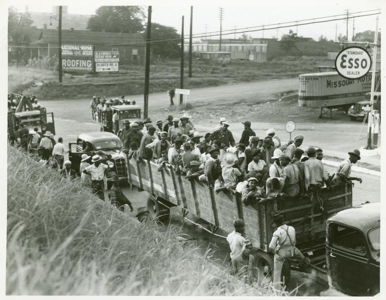 Cotton hoers loading at Memphis, Tennessee for the day's work in Arkansas. June 1937.