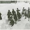 African American members of the Women's Army Corps standing in the snow and throwing snowballs at each other, Camp Shanks, New York