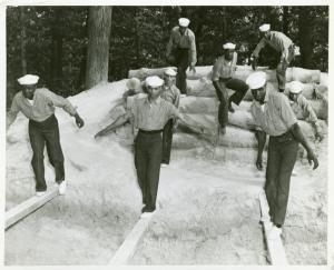 Training colored recruits at U.S. Navy Receiving Station, Camp Robert Smalls, Great Lakes, Illinois.