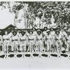 Members of an African American company of the Women's Army Auxiliary Corps lined up for review, Liberia
