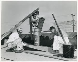 NYA [National Youth Administration] youths on a construction project at the student union building, Compton Junior College, Compton, California.