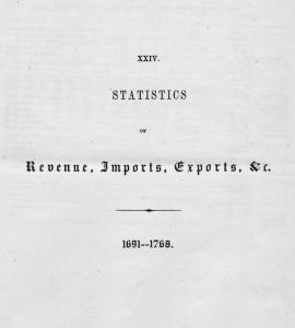 Statistics of revenue, imports, exports, etc. 1691 - 1768.