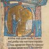 Psalm 26: historiated initial: David holding Candle blessed by Lord