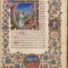Initial V with St. Jerome and border