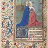 Miniature of the Visitation, border with grotesques, strawberries and flowers, initial.