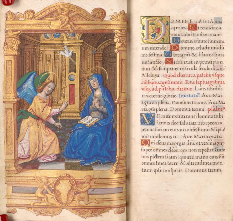 Annunciation and beginning Hours of the Virgin