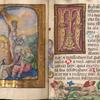 Miniature of Cucifixion with image of Dominican nun (sponsor of book); and facing text page.