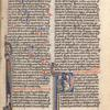 Proverbs, historiated initial, Solomon beating student; decorated prologue initial