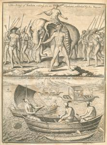 The King of Kochin riding on an elephant, attended by his Nayros; Small Indian vessels used on the Coast of Malabar.