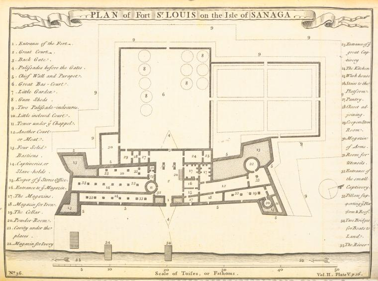 This is What Thomas Astley and Plan of fort St. Louis on the Isle of Sanaga Looked Like  in 1745