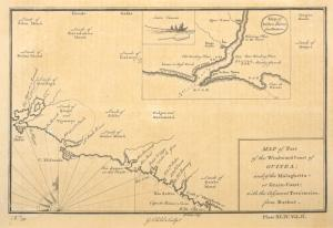 Map of part of the windward coast of Guinea, and of the Malaghetta, or Grain Cost; Map of Sestro River.
