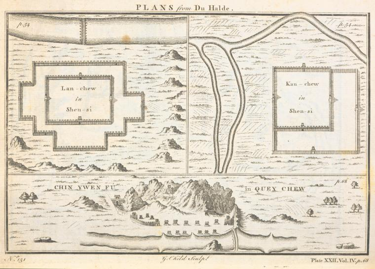This is What Thomas Astley and Plans; Lan-chew in Shen-si; Kan-chew in Shen-si; Chin-ywen f? in Quey-chew Looked Like  in 1745