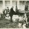 [President Hoover laying a wreath on Harding's tomb.]