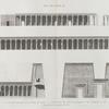 Île de Philæ. 1,6. Coupe et élévation de la galerie de l'est; 2,3,4,5. Élévations des deux colonnades et de l'édifice du sud; 7. Élévations du premier pylône.