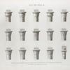 Île de Philæ. Détails de quatorze chapiteaux des deux colonnades. 1.2.3.4.5. Chapiteaux ébauchés; [6]-15. Chapiteaux de l'édifice du midi.