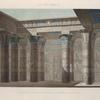 Île de Philæ. Vue perspective intérieure coloriée, prise sous le portique du Grand Temple.