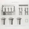 Île de Philæ. Plan, coupe, élévation et détails de trois chapiteaux de l'édifice de l'est.