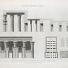 Koum Omboû (Ombos). 1-3. Plan, coupe, et élévation du Grand Temple; 4. Bas-reliefs du même temple; 5.6. Détails d'hieroglyphes.