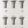 Esné [Isnâ] (Latopolis). Plan et élévations de six chapiteaux du portique.