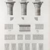 Esné [Isnâ] (Latopolis). 1-6. Plan et élévations de trois chapiteaux du portique; 7. Corniche de l'intérieur du portique; 8-19. Décorations de colonnes; 20.21. Détails de coeffures.