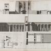 Thèbes. Medynet-Abou [Medinet Habu]. 1.4. Plan et coupe longitudinale du temple et de ses propylées; 2.3. Plan et coupe longitudinale du palais; 5. Plan du pavillon.