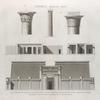 Thèbes. Medynet-Abou [Medinet Habu]. 1-5. Élévation et chapiteau des propylées, coupes transversales et détail d'une colonne de temple; 6. Détail du chapiteau des colonnes de la cour du palais.