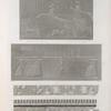 Thèbes. Medynet-Abou [Medinet Habu]. 1. Bas-relief sculpté sur la face extérieure du palais exposée au nord; 2. Bas-relief de la galerie-sud du péristyle du palais; 3.4. Fragmens trouvé sous le premier pylône des propylées du temple.