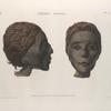 Thèbes. Hypogées. Profil et face d'une tête de momie de femme.