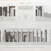 Thèbes. Louqsor [Luxor]. 1-3. Coupes transversales du palais; 4-7. Détails recueillis dans les salles intérieures.