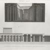 Thèbes. Karnak. 1. Vue intérieure du Grand Temple du sud; 2. Coupe longitudinale du temple dépendant du palais.