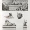 Thèbes. Karnak. 1-3. Vue et détails de l'un des sphinx placés à l'entrée principale du palais; 4. Détail de l'un des sphinx de l'allée du sud; 5. Petit torse en granit trouvé près de la porte du sud.