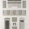 Qous [Qûs] (Apollinopolis Parva), Keft [Qift] (Coptos).  1-4. Couronnement d'une porte, plan, élévation et coupe d'un monolithe de Qous; 5-9. Frise et bas-reliefs dessinés à Keft.