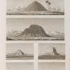 Fayoum [Fayyûm] et environs. 1.2. Vues de deux pyramides en briques à l'est du Fayoum; 3. Pyramide de Meydouneh; 4. Pyramides d'el-Metanyeh; 5.6. Pyramides de Saqqarah.